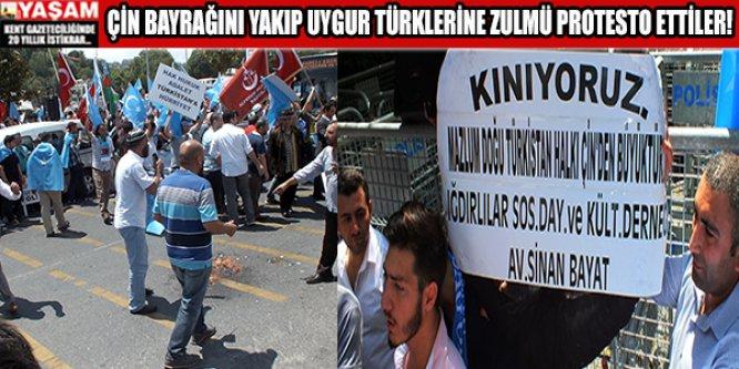 Çin Bayrağı'nı yakıp Uygur Türklerine zulmü protesto ettiler